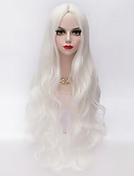 80cm de largo flojo blanco sintético estilo europeo peluca del partido de la moda a prueba de calor ondulado u parte del cabello
