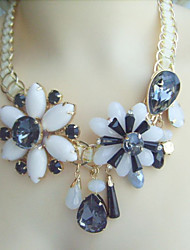 Fashion Rhinestone Flower Statement Necklace, Austrian Crystal Bubble Bib Necklace