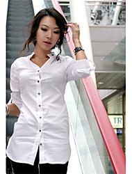 Mulheres Camisa Colarinho Chinês Manga ¾ Algodão Mulheres