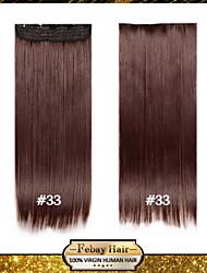 alta resistencia a la temperatura de 24 pulgadas castaño oscuro (# 33) larga recta 5 extensión peluca clip de 16 colores disponibles