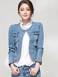 Women's Color Block Blue Cotton/Denim Jacket , Vintage/Sexy/Beach/Casual Round Neck Long Sleeve Pocket/Button