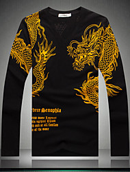 Men's long Sleeve T-shirt China yards all embroidery new Men's Shirt fat men's long sleeve T-shirt