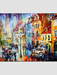 Oil Paintings Modern Landscape Rainy Street Canvas Material With Wooden Stretcher Ready To Hang SIZE:60*90CM. .