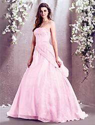 A-line/Princess Wedding Dress Sweep/Brush Train Strapless Organza/Lace