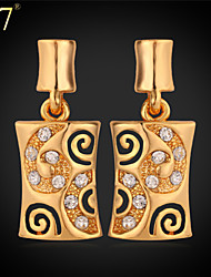 U7® Women's New Earrings High Quality 18K Gold Plated Jewelry Clear Rhinestone Platinum Plated Dangle Earrings
