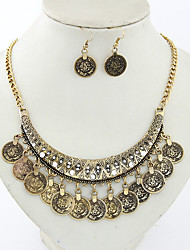 Metal concise joker coin necklace earrings suit