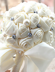 Wedding Flowers Round Roses Pearl And Rhinestone Bouquets Simulation Flowers