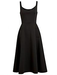 Vestidos ( Algodón )- Casual Redondo Sin Mangas para Mujer