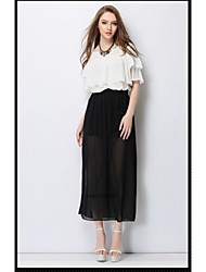 Summer New Casual Fashion Tow Piece Set Elegant Chiffon Suit European and American Women Top Split Skirt HNZ080