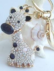 Charming Deer Giraffe Key Chain With Clear Rhinestone Crystals
