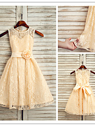 Lanting Bride A-line Ankle-length Flower Girl Dress - Lace Sleeveless Jewel with