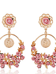 Pure and fresh flowers big circle earrings