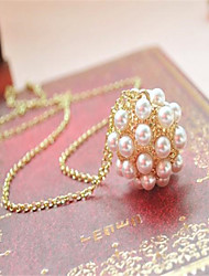 The Korean Version Of The Golden Pearl Ball Sweater Chain Cute/Casual Imitation Pearl Pendant Necklace