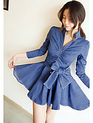 Women's Long Sleeve Belt Jeans Dress