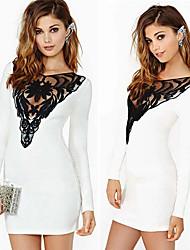 Women's Bateau Dresses , Cotton Blend/Lace Sexy/Lace/Party Long Sleeve K.M.S