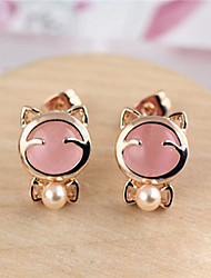 Korean Version 2015 New Litter Moonstone Beads Earrings Cute Platinum Plated/Gemstone & Crystal Stud Earrings