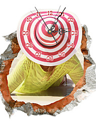 PAG®Modern Design 3D Effect Straw Hat Pattern Clock Sticker 14.96*15.78 in