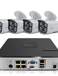 EasyN kit NVR 4 canali (con 4pcs 1.0MP giorno / notte Wireless IP Camera) / poe / p2p