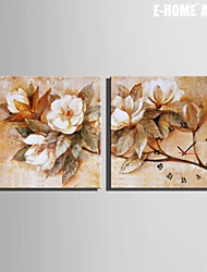 E-HOME® Flower Clock in Canvas 2pcs