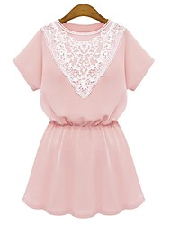Women's Round Neck Lace Dress , Acrylic Mini Short Sleeve