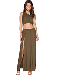 Women's One-shoulder Crop Top Boba Skirt Set