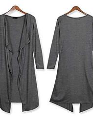 Women's Tailored Collar Coats , Cotton Blend/Organic Cotton Casual/Work Long Sleeve Phylomeya