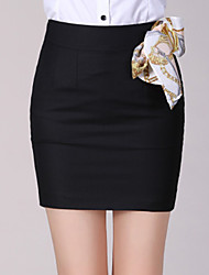 Women's Bodycon/Work Above Knee Skirts , Cotton Micro-elasticBusiness attire