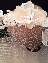 Bride's Flower Shape Rhinestone Foehead Wedding Birdcage Veils 1 PC