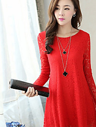 Maternity A Line Dress Round Neck Above Knee Long Sleeve Red / Black Fall