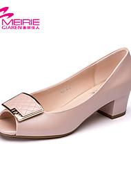 Women's Spring Peep Toe / Open Toe Leatherette Outdoor / Casual Low Heel Pink / White / Beige