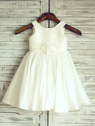 A-line Ivory Knee-length Flower Girl Dress - Taffeta Sleeveless