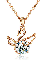 HKTC Ladies Rhinestone Jewelry 18k Rose Gold Plated Shining Crystal Fly Swan Pendant Necklace