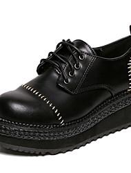 Zapatos de mujer - Tacón Cuña - Comfort - Oxfords - Exterior - Semicuero - Negro