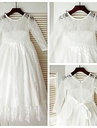 A-line Floor-length Flower Girl Dress - Lace/Satin Long Sleeve