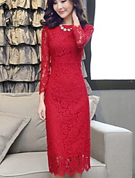 Women's Solid Red/White Dress , Casual Long Sleeve Lace
