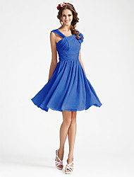 Knee-length Georgette Bridesmaid Dress - Plus Size / Petite A-line / Princess V-neck