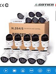 kits de NVR de cotier®16ch 720p / 960p / 1080p / IR / ONVIF / H.264 / ip caméra n16b-mini / h
