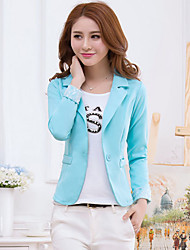 Women's Patchwork/Lace Blue/Pink/Black/Yellow Casual Shirt Collar Long Sleeve Pocket