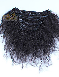 Clip In Human Hair Extensions Brazilian Afro Kinky Curly Clip In Hair Extensions Virgin Human Hair 7pcs/lot 120g 6A