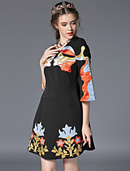 Women's Round Neck Embroidery Dress , Polyester Above Knee ¾ Sleeve ,Sexy Cute skirt ,Dress Skirt Women's Neckline