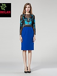 YIMILAN® Women's The New 2015 Heavy Embroidery Long-Sleeved Dress