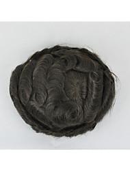 """60 цвет Белла мужские волосы кусок парик Реми замену 6 """"небольшое волна может сократить"""