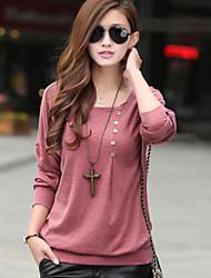 Mulheres Camiseta Decote Redondo Manga Longa Sólido Misto de Algodão Mulheres