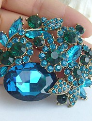 2.36 Inch Wedding Gold-tone Turquoise Rhinestone Crystal Flower Brooch Pendant
