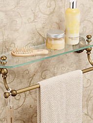 Modern Antique Brass  Carving Bathroom Glass Shelves With Towel Bar