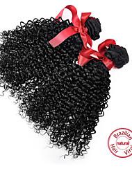 haces de pelo rizado vírgenes evet sexuales ofertas rizado 2pcs pelo rizado / lot color natural brasileño virginal del pelo rizado