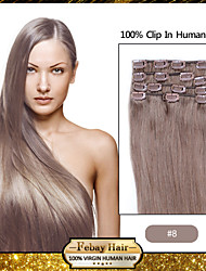 "24"" Ash Brown(#8) 8pcs Clip In Human Hair Extensions"
