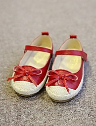 Girls' Shoes Party & Evening/Dress/Casual Mary Jane/Comfort/Closed Toe Leatherette Flats Black/Red