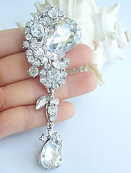 Wedding 3.94 Inch Silver-tone Clear Rhinestone Crystal Bridal Flower Brooch