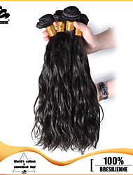 4pcs Brazilian Narural Wave Hair Bundles Weaves Natural Black 100% Unprocessed Brazilian Human Hair Weft